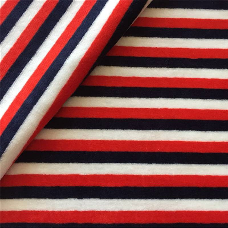 Yarn dyed striped  velour fabric for pajama garment