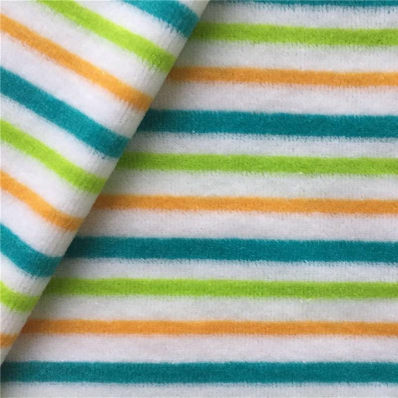 Yarn dyed striped velour cotton polyester for baby clothes 240gsm cvc