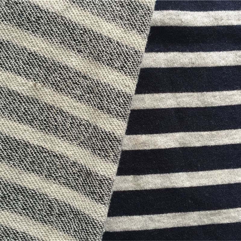 Feeder stripe yarn dyed CVC 60 40 cotton polyeste french terry fabric