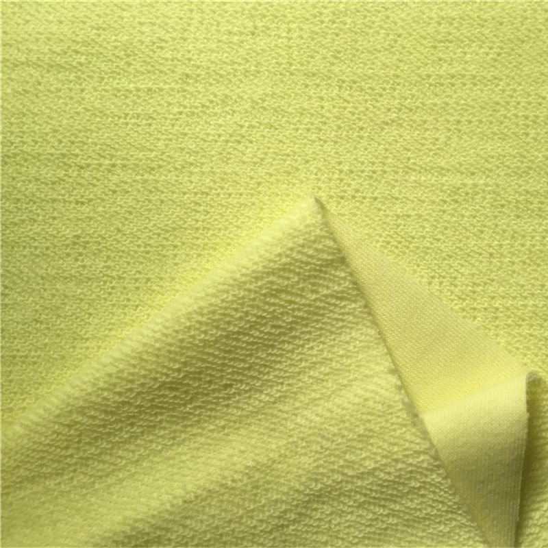 Solid yellow colour solid french terry fabric