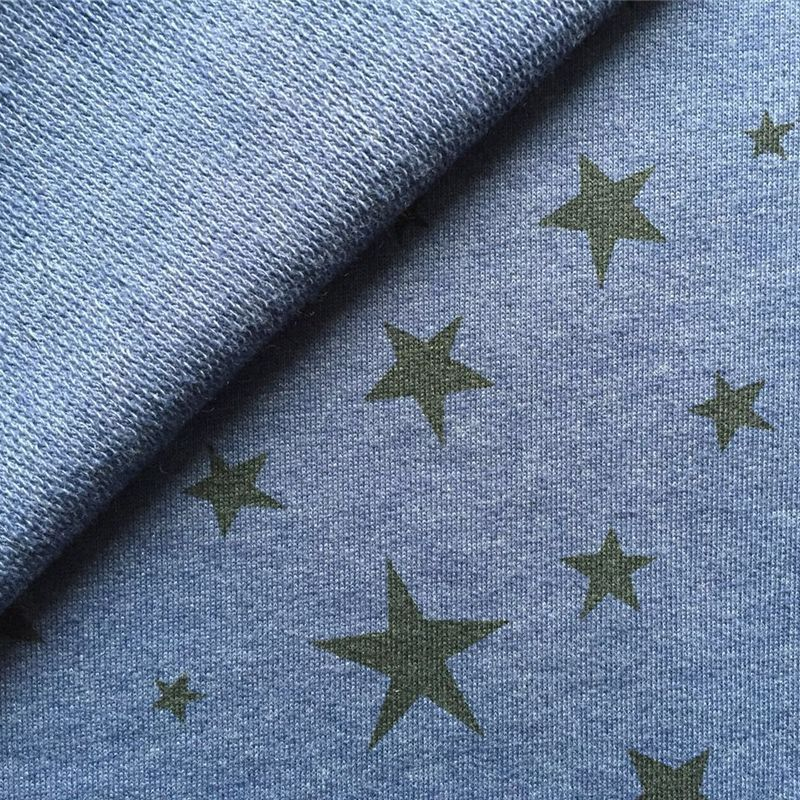 Star print cotton polyeste french terry fabric