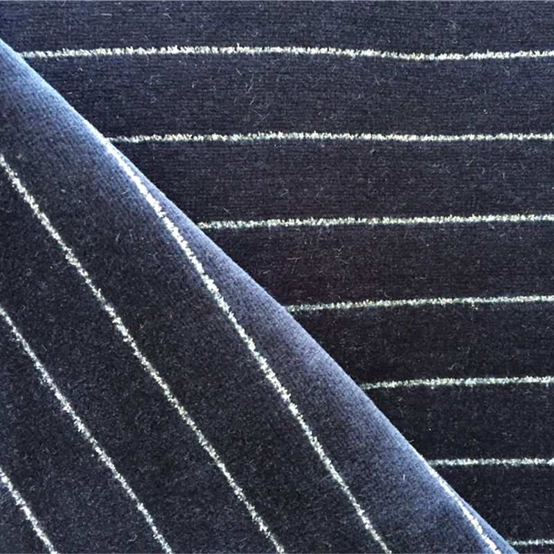 Organic cotton metal wire stripe velour